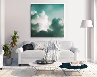 Cloud Painting, Abstract Art Print, Abstract Giclee, Green + White, Modern Art Abstract, Minimalist Painting, Abstract Expressionist Art
