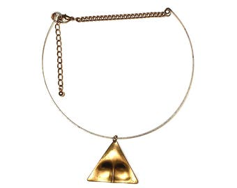 Artsy Brass Triangle Choker