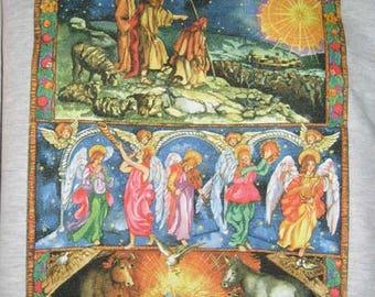 Christmas Nativity JESUS Shepherds Star Angels Born In A Manger~ Christian Sweatshirt~ L