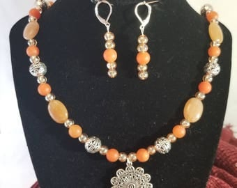 Agate and Jade Necklace with Silver Pendant