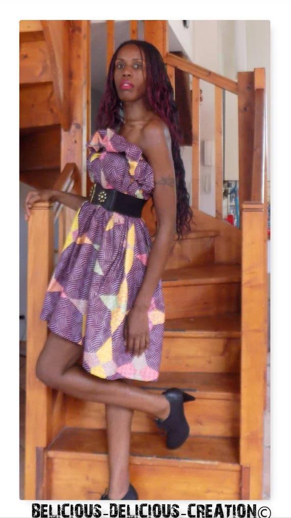 Original Afrowax dress! WAXSTAR! Cotton multicolored size 38/40 Long 77 cm belicious delicious creation