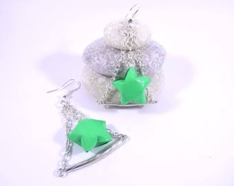 Green trapezoid star Origami earrings