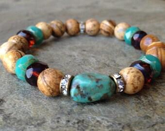 Jasper with Turquoise Stretch Bracelet