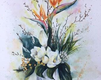 Watercolor flowers, bouquet of flowers, watercolor painting, watercolor art, flowers art