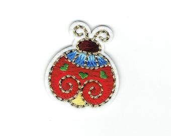 Ladybug - Gold Trim Detail - Bugs/Insects - Iron on Applique - Embroidered Patch - 1518810-A