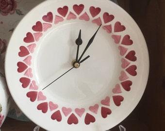 "Emma Bridgewater Pink Heart Rows 8.5"" plate clock"