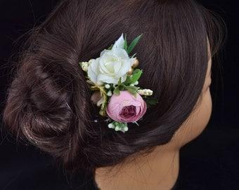 Bridal hair comb Pink Ivory Wedding hair comb Bridal hair piece Wedding flower headpiece Bridesmaid hair comb Pink Wedding hair flower comb