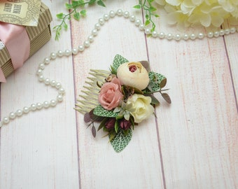 Eucalyptus Hair comb, Girlfriend boho gift, Flower comb, Gift wife brown, Flower comb beige, Gifts for sister, Floral comb, Gift wife unique