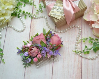 Pink purple hair comb Wedding hair Gift for woman Bridal hair comb Wedding accessories Bridal accessories Flower hair accessories Dusty pink