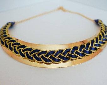 Collier_Eden _ braided Navy blue satin cord and gold