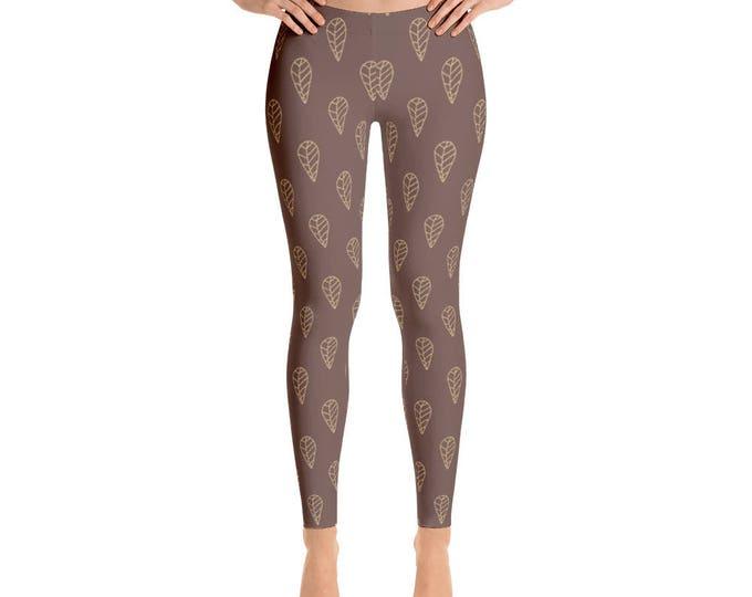 Leggings, Ankle Length Leggings, Capri Leggings, Yoga Pants, Brown Leaf Design Leggings, Women's Sizes, XSmall, Small, Med, Large, XLarge