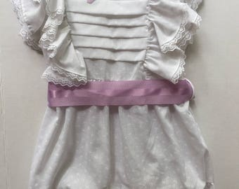 RESERVED Vintage 1980's Victorian White Lacey Ruffle Pinafore Purple Bow and Belt Toddler Size 5-6