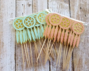 Dreamcatcher Cupcake Toppers... Young Wild & Three... Mint and Pink... Baby Girl