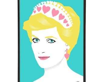 Princess Diana art print - pop art illustration of the Queen of Hearts, the Princess of Wales