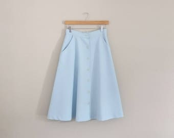 Vintage 1970s Baby Blue Midi Skirt/70s Skirt/Small Medium