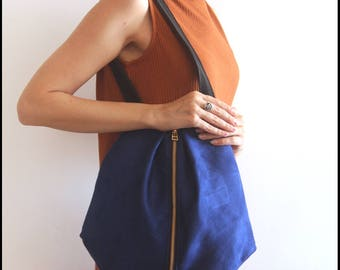ROME tote, Blue shoulder bag - Everyday Bag / Vegan tote bag - Tote with Zipper / Fabric tote bag
