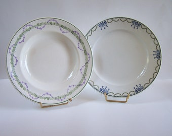 Set of 2 plates (deep and flat) Longwy and St Amand green blue purple garlands and festoons vintage  Made in France
