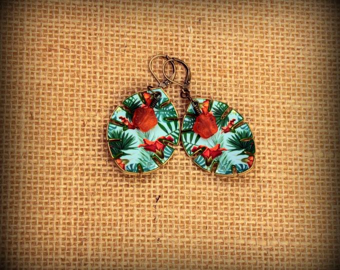 Jungle Earrings - Jungle Jewelry - Jungle Leaf - Summer Earrings - Tropical Earrings - Leaf Earrings - Summer Vacation - Palm Trees - Ocean