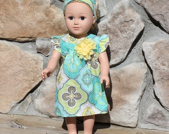 Doll Dress and Headband, 18 inch doll clothes
