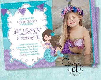 Mermaid Invitation, Little Mermaid invite, Ariel invitation, Mermaid Invite, Photo invitation, Birthday invitation, Princess Ariel