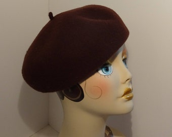 Woman's Beret Wool Brown 1930's Look