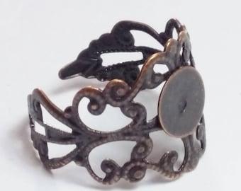 5pcs Antique Copper Filigree Ring Bases - Ring Blanks - Adjustable Ring - Round Ring Setting - 8mm Pad  - Ring Making - B20706