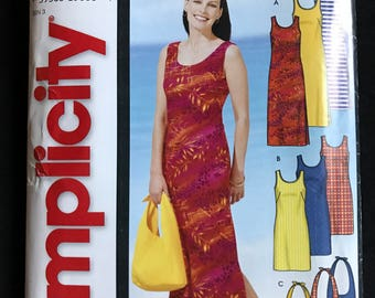 Simplicity 5998 - Easy to Sew Sundress with Scoop Neckline and Matching Tote Bag - Size S M L XL