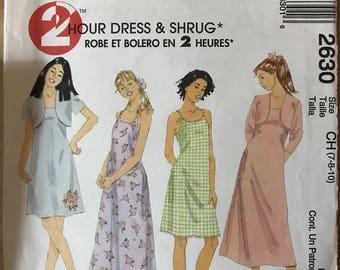 McCalls 2630 - 2 Hour Girl's Sleeveless Summer Dress and Shrug - Size 7 8 10