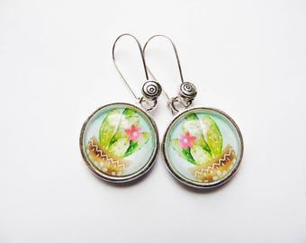 """Cactus"" silver jewelry fancy glass cabochon earrings sleepers"