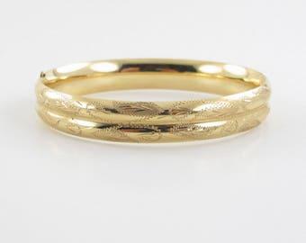 14K Yellow Gold Bangle Bracelet 7 Inches 16.3 grams - Hand Engraved Bangle