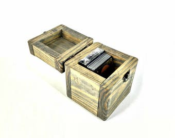 Playing Card Box, Rustic Deck Box, Card Game Box, Handmade Wood Box, Engraved Memento, Wedding Gift, Weathered Gray Box, Little Keepsake