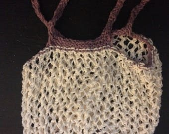 Hand knit Farmers Market Bag