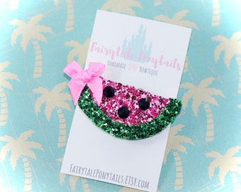 WATERMELON Hair Clip, Glitter, Fairytale Ponytails