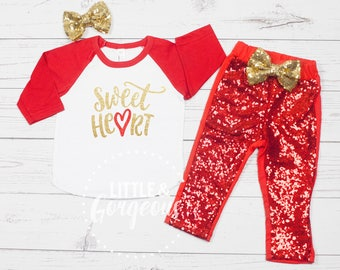 Girls Valentine's Day Outfit, 1st Valentines Outfit, Girls Valentine Raglan, 1st Valentines Day, Baby Girl Valentines Outfit, Valentine