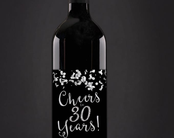 Digital Wine label, Cheers, 21st, 30th, 40th, 50th, 60th, 70th, 80th, 90th, glitter, favor sticker, label, silver, birthday, retirement