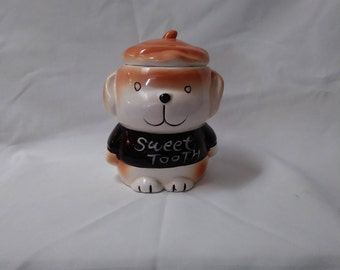 Sweet Tooth Small Cookie Jar, Candy Container, Candy Jar, Kitchen Storage   (1316)