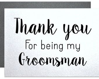 Thank you groomsman card, wedding party cards for groomsmen, best man, ring bearer, wedding cards thank you set