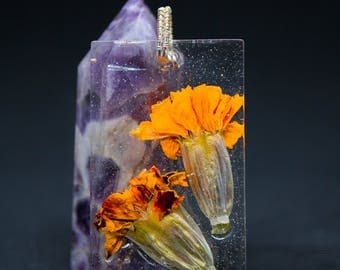 Marigold Duo Sterling Silver Wire Wrapped Pendant