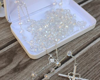 FAST SHIPPING!! Beautiful Sparkling Silver Wedding Lasso with Aurora Boreal Beads, Unity Cord, 25th Anniversary, Wedding Gift, Unity Cord