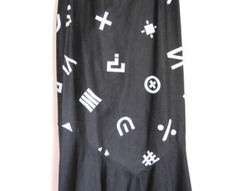 1970s Punctuation Skirt Black Maxi Trumpet Fishtail Mermaid Hem Full Length Question Mark Plus Sign Hashtag Math size XS / Small waist 26