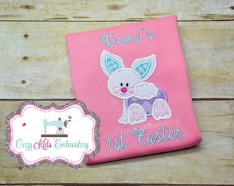 First Easter shirt, Spring Shirt, Girls easter shirt, Girls spring shirt, bunny shirt, bunny applique shirt, embroidery, applique
