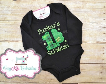 First St. Patrick's Day shirt, First Saint Patrick's Day Bodysuit, Baby's First Shirt, Irish Shirt, Shamrock Shirt, Applique, Embroidery