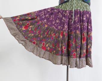 Tiered Midi Gypsy Skirt Prairie colorful long skirt Bright Ditsy Floral skirt Boho Skirt Summer multicolor skirt Festival cotton skirt