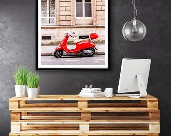 Photographie Fine Art d'un Vespa rouge à Paris - Toile Photo de Paris - France