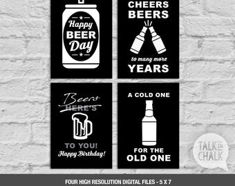 Beer Themed Birthday PRINTABLE Signs - DIGITAL Liquor Theme Poster - Beer Party Decorations - Cheers and Beers - Beer Party Printables