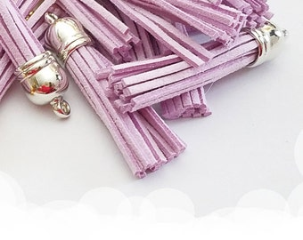 Long Tassels - 10 Light Purple with Silver Cap - 58mm Decorative Tassels For Jewelry - Purse Tassels - Key Chain Tassel Pendants - TL-S072