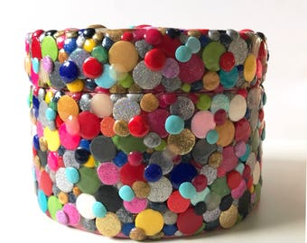 Multicolor mosaic dot jewelry box with a super cute SURPRISE piece of jewelry inside! Handmade with polymer clay