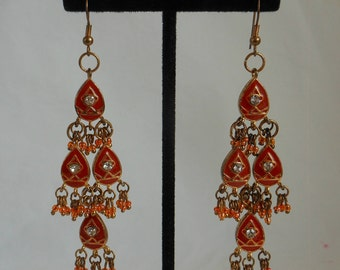 Orange Rust with Gold and Rhinestones Beads Bohemian Chandelier Earrings