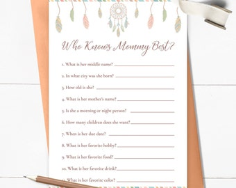 Dreamcatcher Baby Shower Games, Who knows Mommy Best, How Well Do You Know Mom, Dreamcatcher Mommy Quiz, Instant Download Printable - BOHO1