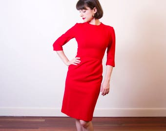 Vintage 1960s Betty Barclay Red Wool Dress / Wiggle Dress / 1960s JOAN Dress / XS